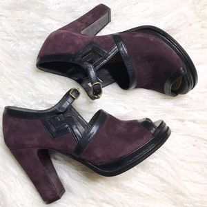 Purple Suede Open-Toe Chie Mihara Buckle Heels